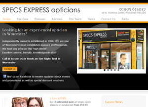 Example Responsive Website Specs Express Opticians Worcester